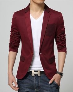 2017 New Korean Fashion Slim fit Red Blazer for Men cotton coat suit jacket Male casual clothing on sale unique blazer masculino Blazer Outfits Men, Mens Fashion Blazer, Red Blazer, Fashion Outfits, Blazer Suit, Casual Outfits, Blazers For Men Casual, Blazer For Boys, Casual Blazer