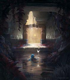 The Legend of Zelda Ocarina of Time Water Temple art The Legend Of Zelda, Legend Of Zelda Breath, Breath Of The Wild, Fantasy Landscape, Fantasy Art, Super Manga, Beste Comics, Modele Pixel Art, Toms