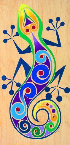 A fanciful gecko Kunst Der Aborigines, Arte Popular, Gourd Art, Mexican Art, Aboriginal Art, Art Plastique, Fabric Painting, Rock Art, Art Lessons