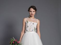 floral wedding blouse  sleeveless wedding top  floral