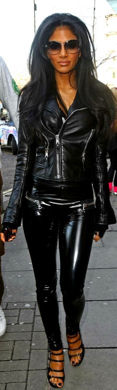 Nicole Scherzinger. Gorgeous leather and latex outfit.