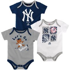 Your tiny fan can show off their New York Yankees pride three different ways with this sweet little Onesie set! The shirts are made of a soft and stretchy cotton knit and each one is screen printed with a different design including official Yankees team colors and logos. The fold over collar and triple snap closure at the bottom make for quick and easy changes sure to suit Mom & Dad.