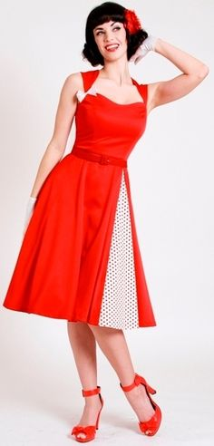 ELVGREN 50's Retro A NICE CROP Red Sweetheart White Dots Circle DRESS... must have