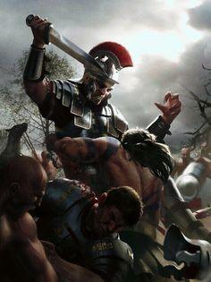 A scene of Romans battling Barbarian Tribes Ancient Rome, Ancient Greece, Ancient History, Greek Warrior, Fantasy Warrior, Alter Krieger, Samurai, Roman Armor, Rome Antique