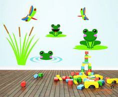 Frog and Dragonfly Pond Theme Wall Decals by ChamberDecals on Etsy, $36.00