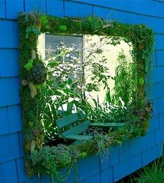 Outdoor mirror with succulent frame Outdoor Learning Spaces, Outdoor Play Areas, Preschool Garden, Sensory Garden, Garden Mirrors, Outdoor Mirrors Garden, Garden Walls, Indoor Garden, Natural Playground