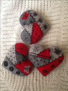 Crazy quilt felt hearts