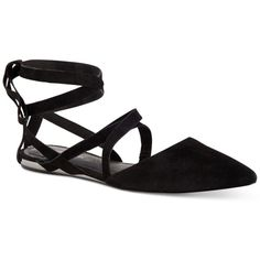 BCBGeneration Noel Lace-Up Ballet Flats ($89) ❤ liked on Polyvore featuring shoes, flats, black, ballet flats, black ballet shoes, ballet pumps, t-strap flats and lace up flats