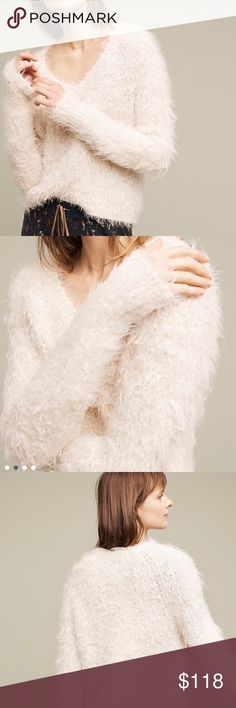 🆕 Anthropologie Snowfrost Boucle Pullover by Moth So romantic! Slightly cropped, ivory teddy bear sweater. Brand new with tags. Will send in original packaging. By Moth. Anthropologie Sweaters V-Necks