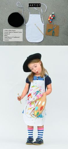 Le Artist! Your kids can help you make this costume! Let them paint their apron and painters palette. Just let it all dry before trick-or-treating!
