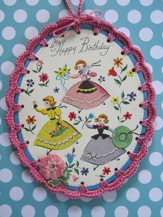Recycled Greeting Card  Crochet Birthday Girls by ShoeFlower, $5.00