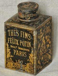Felix Potin Thes Fins [Fine Teas] Paris tea tin or caddy ... gold art nouveau decoration on black rectangular flask style shape with cap lid, early 20th century, France