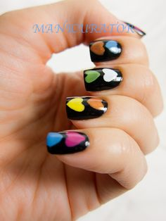 Colorful hearts on black Funky Nails, Cute Nails, Pretty Nails, Heart Nail Art, Heart Nails, Wrap Around Braid, Air Balloon Rides, Paws And Claws, Creative Nails