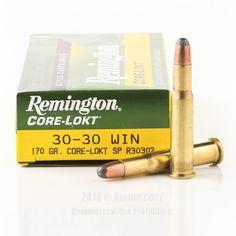 Remington 30-30 Ammo - 20 Rounds of 170 Grain SP Ammunition  #3030Win #3030WinAmmo #Remington #RemingtonAmmo #Remington3030Win #SPAmmo #RemingtonCoreLokt