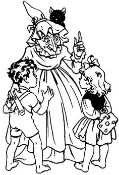 Hansel and Gretel running toward the little house coloring