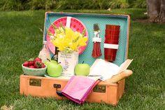 vintage suitcase picnic basket repurpose, crafts, repurposing upcycling
