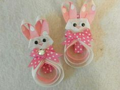 Pink Easter bunny hair bow clips