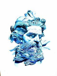 Poseidon greek mythology roman neptune sea god merman for Zeus tattoo designs