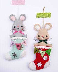 Teeny tiny felt mouse in a stocking - felt Christmas ornaments - felt mice