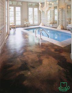 Smooth, Brown Concrete Pool Decks Kemiko Decorative & Industrial Floor Finishes Whittier, CA Acid Stained Concrete, Concrete Cement, Concrete Countertops, Concrete Floors, Deck Pictures, Concrete Coatings, Diy Flooring, Flooring Ideas, Industrial Flooring