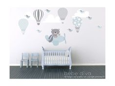 Hot Air Balloon Wall Decals, Nursery Wall Decal, Kids Wall Decals, Wall Mural, Removable Reusable Repositionable, No VOCs
