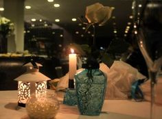 Romantic table, mesa romantica, decor, table for two, mesa para dois, blue decor, candles.
