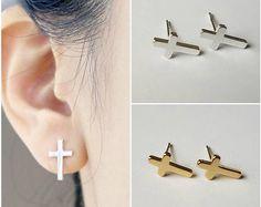 Upper Ear Piercing, Ear Piercings, Stainless Steel Jewelry, Black Stainless Steel, Cross Earrings, Gold Earrings, Gold Cross, Minimalist Earrings, Ring Designs