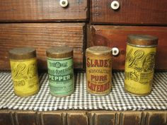 Set of Four Old Farmhouse Kitchen Spice Tins - Awesome Advertising Graphics ~ from Hannah's House Antiques on Ruby Lane