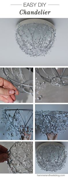 DIY Chandelier | Make this sparkly affordable chandelier using a hanging plant basket in an hour! http://www.amandakatherine.com/diy-chandelier/