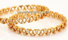Amazing Diamond bangles with gold cut work - Latest Jewellery Designs