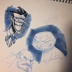 Couple of warm up sketches. Tying up some loose ends over here. If you ordered a batman/tmnt sketch cover from me, they will be done by this weekend and I'll be in touch for current shipping info! Batman Tmnt, Joker Sketch, Copic Art, Loose Ends, Tied Up, Gorillaz, Copics, Studio Ghibli, Line Art