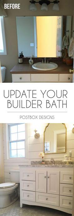 Postbox Designs E-Design: Turn Your Builder Basic Bathroom Into a Dream Farmhouse Bathroom, farmhouse bathroom design
