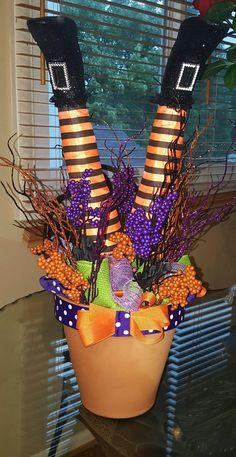 Witch Legs Arrangements, Halloween Arrangement, Halloween Centerpiece