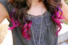 Brown Hair with Pink and Purple Ends-----I would love to do that with my hair