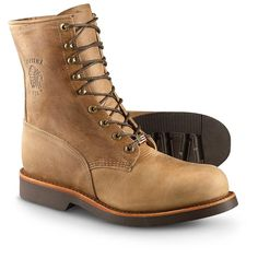 "Chippewa Boots 8"" steel toe lace-up work boots, tan $116.00"