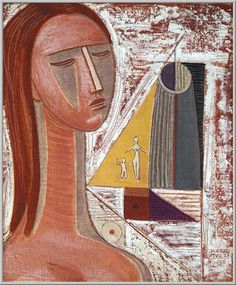 Mario Tozzi 1968: Figura e Geometrie.  Olio su Tela cm.55x46,  Collezione Privata Rovereto,  Archivio numero 2393.