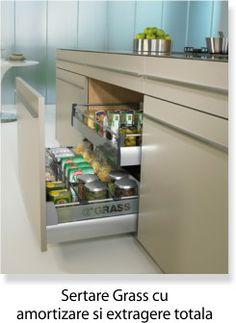 Sertare cu amortizare pentru mobila de bucatarie, tavite si separatoare pentru sertare.