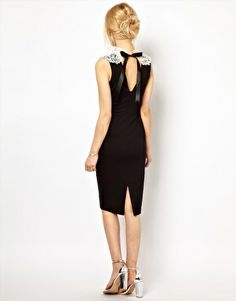 Image 2 of Lydia Bright Pencil Dress with Vintage Lace Collar Detail