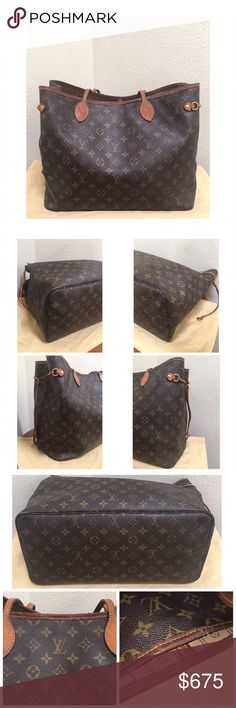Louis Vuitton Neverfull GM Pre•loved Louis Vuitton Neverfull GM • Monogram Canvas • Measures approx; 15.7 x 13.0 x 7.9 inches  (Length x Height x Width) • Date code is stamped SD116 • Please look closely at all the pictures • The bag shows signs of wear • The pipping on the top is not perfect, please look at pictures • The corners are somewhat scuffed, nothing too noticeable • Overall good condition • Retails on the LV site for $1340 Louis Vuitton Bags