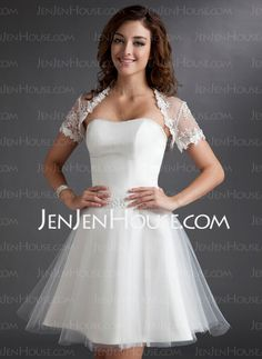 Rehearsal Dresses - $116.99 - A-Line/Princess Sweetheart Knee-Length Satin  Tulle Wedding Dresses With Lace  Beadwork (002011497) http://jenjenhouse.com/A-line-Princess-Sweetheart-Knee-length-Satin-Tulle-Wedding-Dresses-With-Lace-Beadwork-002011497-g11497