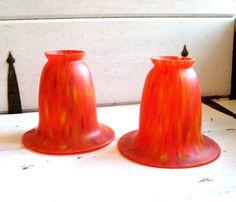 Vintage glass pendant shades retro orange red by jensdreamvintage, 34.50 #retro lighting