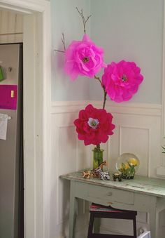 Large paper flowers - the bigger, the better! (Or whatever it was)