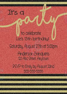 Glitter Stripes 5x7 Party Printable by KiddiePartyCreations