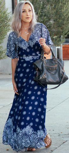 #fall #street #style | Long Blue Wrap Maxi Dress + Grey Balenciaga Bag