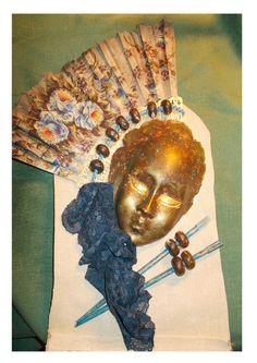 Μask made with casting powder, fabrics, beads, acrylic paint on off white canvas. #masks #masquerade  https://www.etys.com/shop/mademeathens