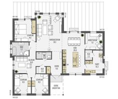 Havsvik planlösning - plan 1 Sims Building, Building A House, Bungalows, Small House Plans, House Layouts, Architectural Elements, My Dream Home, Future House, New Homes
