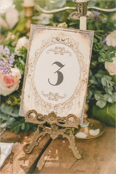 antique table number @weddingchicks