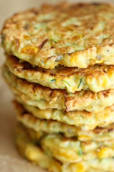 """{USA} Zucchini Corn Pancakes - Super easy pancakes perfect as a side dish or appetizer. And best of all, they don't even taste """"healthy""""! Corn Pancakes, Waffles, Zucchini Pancakes, Savory Pancakes, Homemade Pancakes, Buttermilk Pancakes, Vegetable Recipes, Vegetarian Recipes, Healthy Recipes"""