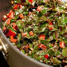 OMG DELICIOUS!  Lemon-Garlic Rainbow Chard Recipe - I did add part of a red pepper to it, simply bc I wanted to use it up - and I think pine nuts would be yum too.