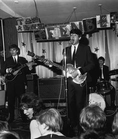 The Beatles in concert at the Cavern Club in Liverpool in 1963.